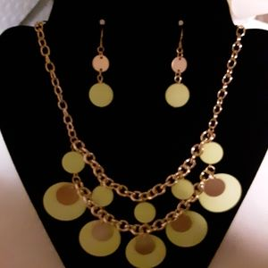 Lime Green & Gold Statement Necklace/Earrings